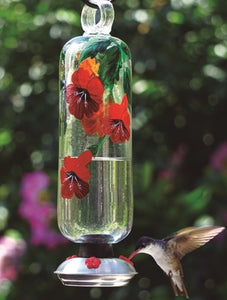 CLEAR HANDPAINTED BOTANICA FILIGREE HUMMINGBIRD FEEDER