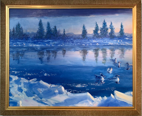 ALASKAN MERGANSERS FRAMED ORIGINAL OIL