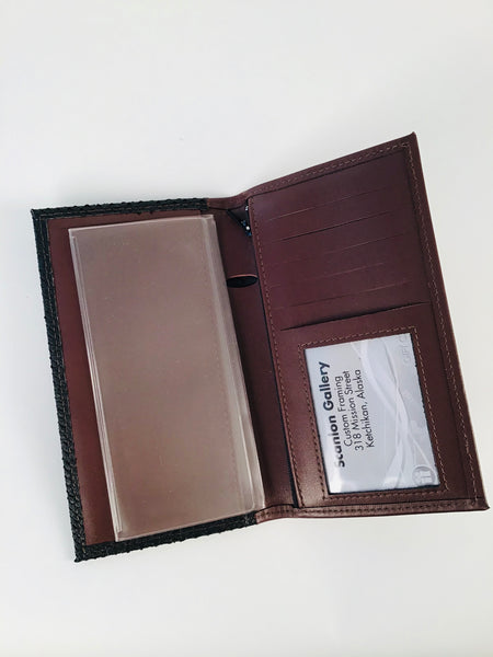 BROWN CHECKBOOK WALLET WITH ZIPPERED POCKET