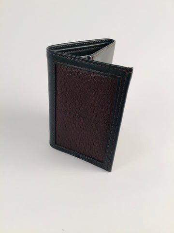 DARK GREEN WITH BROWN SALMON LEATHER TRIFOLD WALLET WITH WINDOW