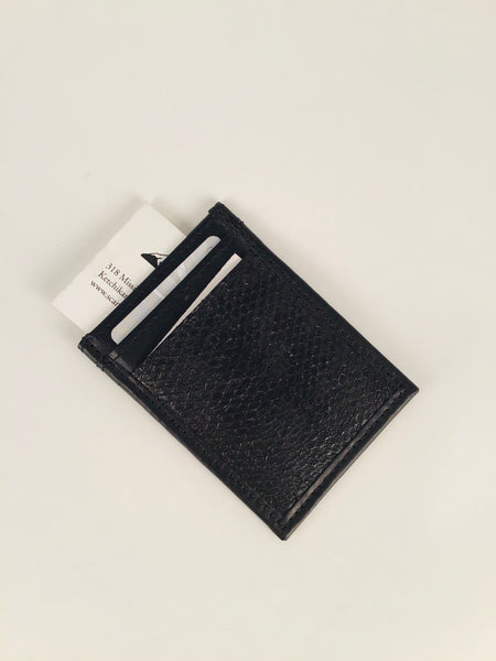 BLACK SALMON LEATHER SLIM DESIGN CARD HOLDER WITH WINDOW