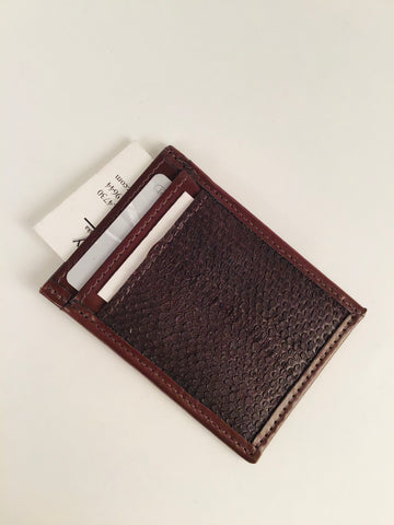 BROWN SALMON LEATHER SLIM DESIGN CARD HOLDER WITH WINDOW