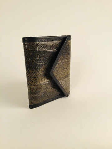 CHARCOAL ALASKA SALMON LEATHER TRIFOLD WALLET