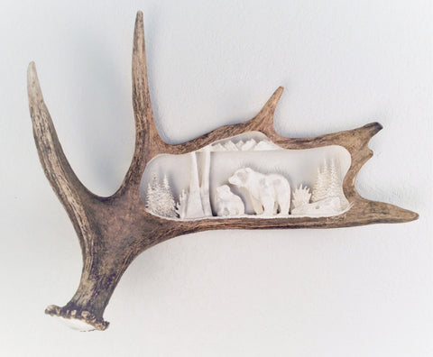 GRIZZLY MOTHER & CUB HANGING ANTLER CARVING