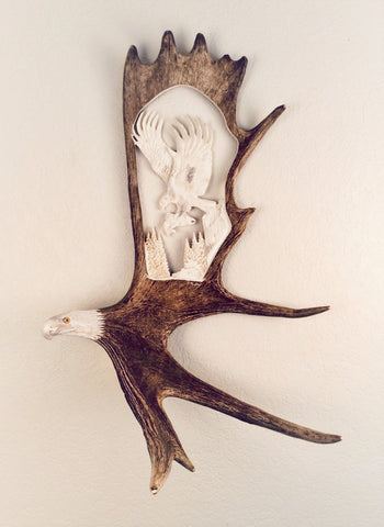 LAST CATCH HANGING ANTLER CARVING