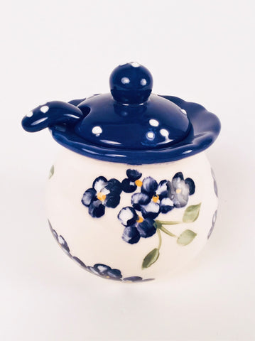 COBALT SUGAR BOWL WITH SPOON