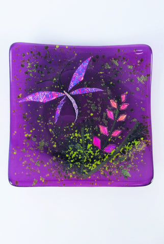 PURPLE FIREWEED & DRAGONFLY SQUARE PLATE 6.5""