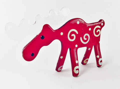 RED GLASS MOOSE WITH SWIRLS