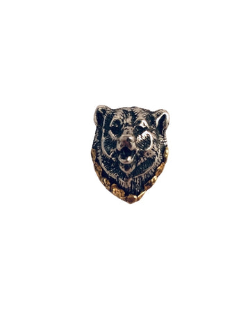 BEAR HEAD SILVER TIE TAC WITH GOLD NUGGETS