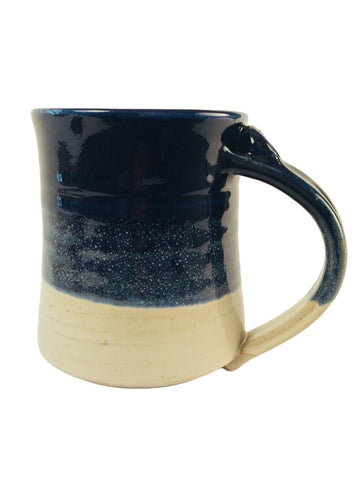 DARK BLUE AND CREAM COLOR BLOCK MUG