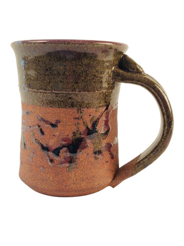 TAN TEXTURED MUG WITH ABSTRACT DESIGN