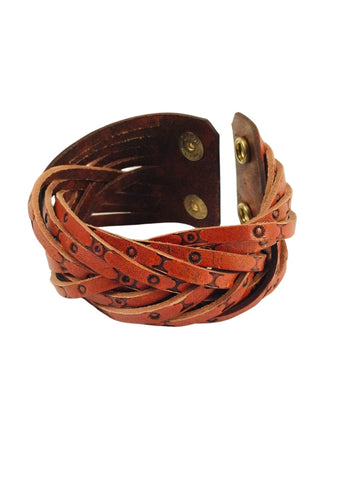 STAMPED TAN LEATHER DOUBLE SNAP MYSTERY BRAID
