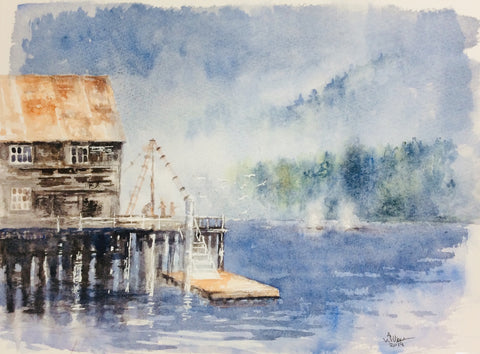 ALASKA CANNERY ORIGINAL WATERCOLOR 9X12
