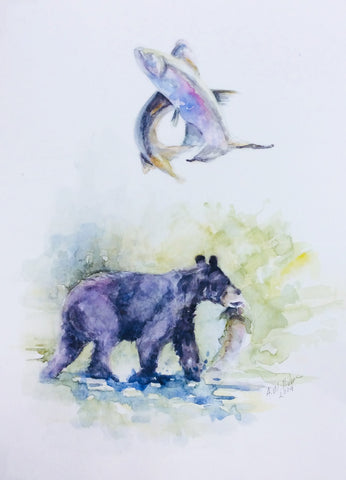 BLACK BEAR WITH SALMON ORIGINAL WATERCOLOR 9X12