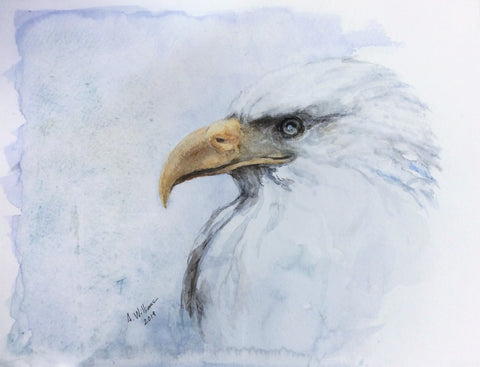 BALD EAGLE ORIGINAL WATERCOLOR 9X12