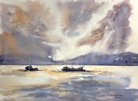 BOATS IN THE CHANNEL ORIGINAL WATERCOLOR 9X12