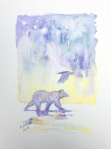BEAR AND RAVEN ORIGINAL WATERCOLOR 8X6