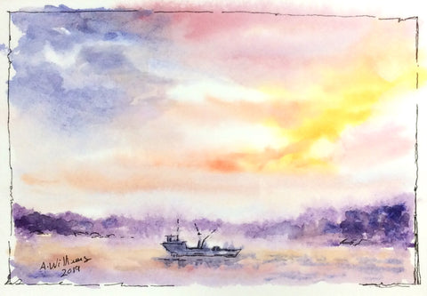 BOAT AT SUNSET ORIGINAL WATERCOLOR MATTED 8X10