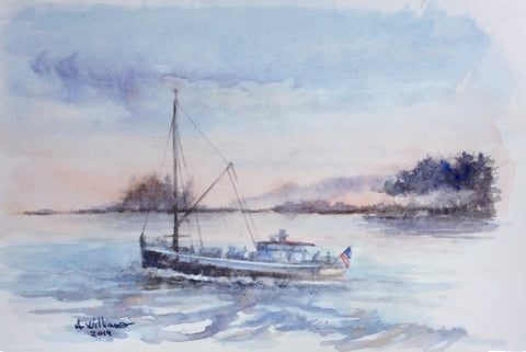 BOAT WITH FLAG ORIGINAL WATERCOLOR 9x6