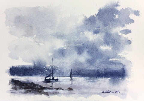 BLUE AND GREY LANDSCAPE ORIGINAL WATERCOLOR 9X6