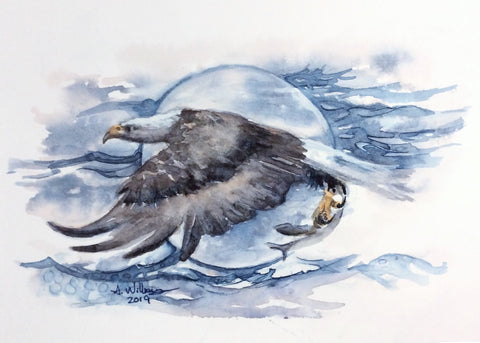 EAGLE WITH CATCH ORIGINAL WATERCOLOR 8X6