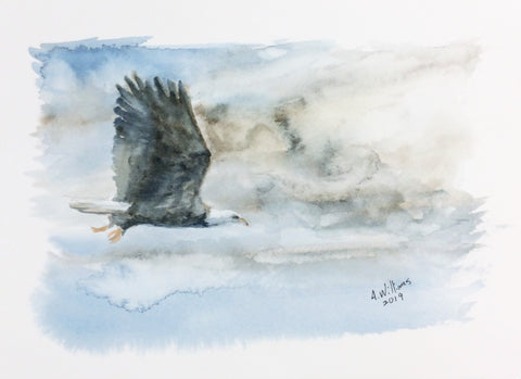 EAGLE FLIGHT ORIGINAL WATERCOLOR 8X6