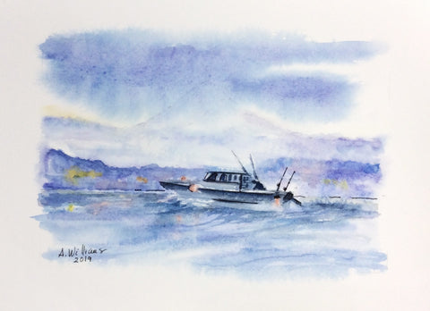 FISHING DAY ORIGINAL WATERCOLOR 8X6