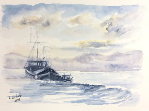FISHING BOAT WAKE ORIGINAL WATERCOLOR 8X6