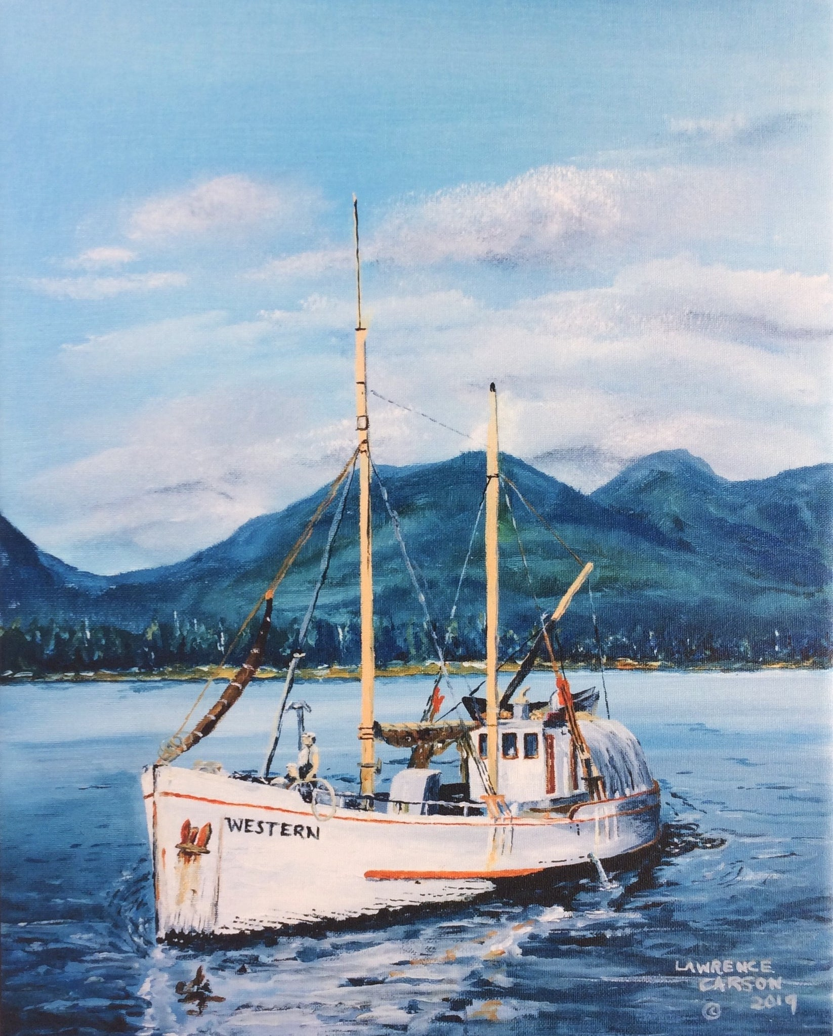 OLD HALIBUT SCHOONER ON CANVAS