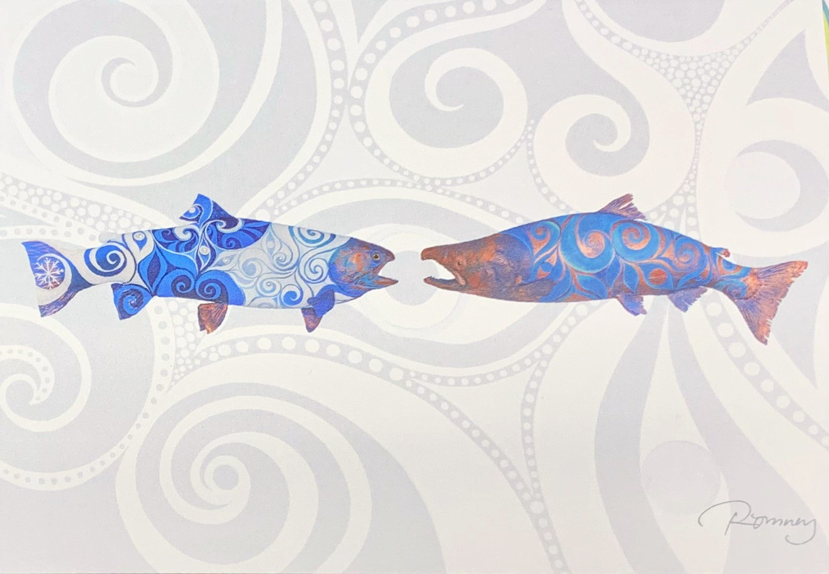 BLUE AND RED TWO SALMON ROMNEY ART CARD
