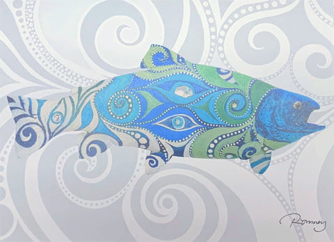BLUE AND GREEN SWIRLY SALMON ROMNEY ART CARD