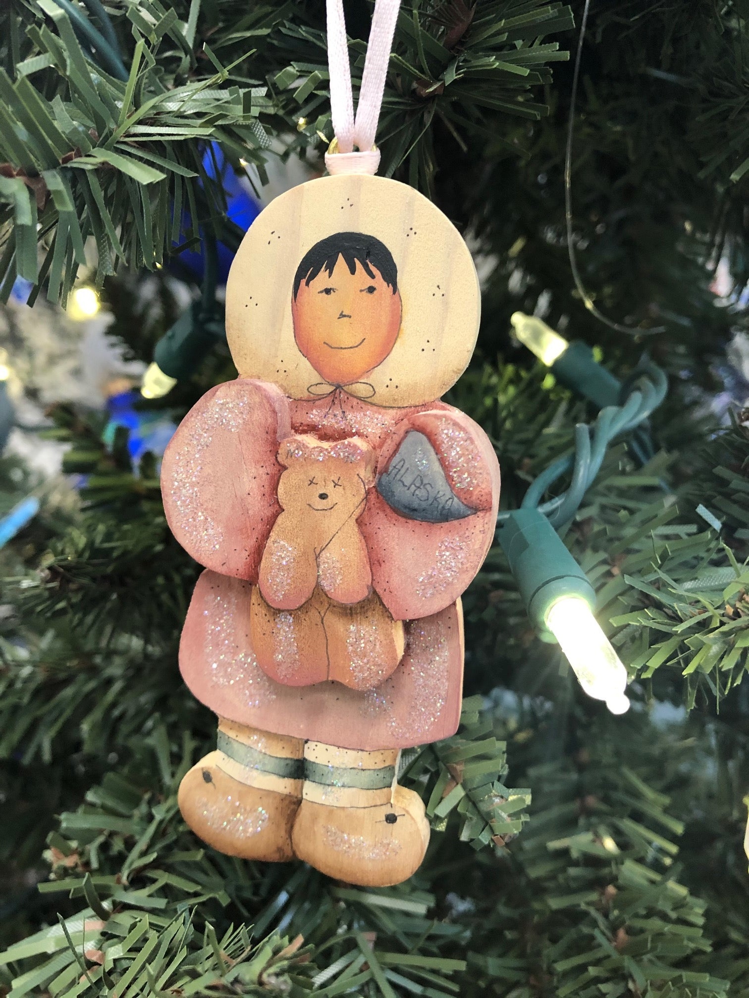 ESKIMO GIRL WITH BEAR ORNAMENT