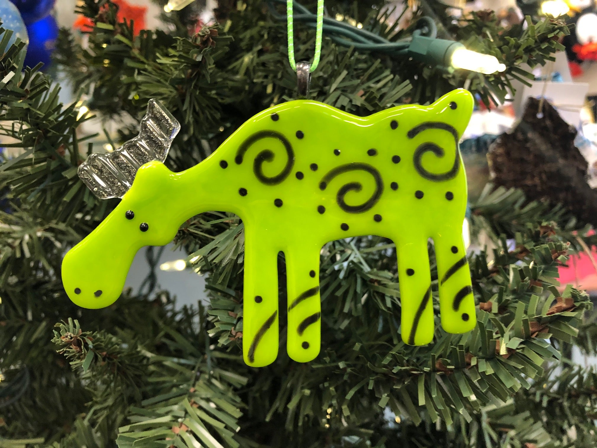 GREEN SPIRAL MOOSE ORNAMENT