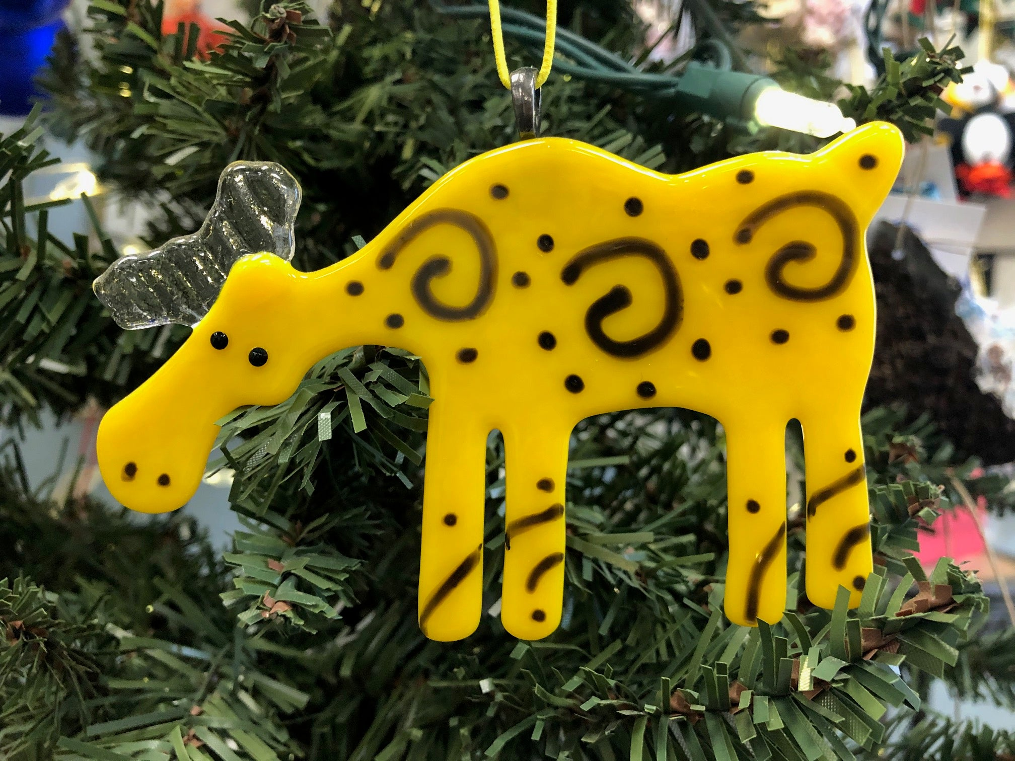 YELLOW SPIRAL MOOSE ORNAMENT
