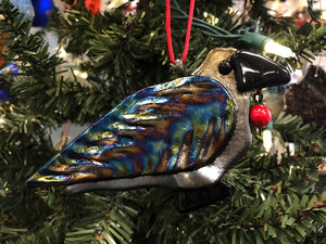 RAVEN WITH RED BEAD ORNAMENT