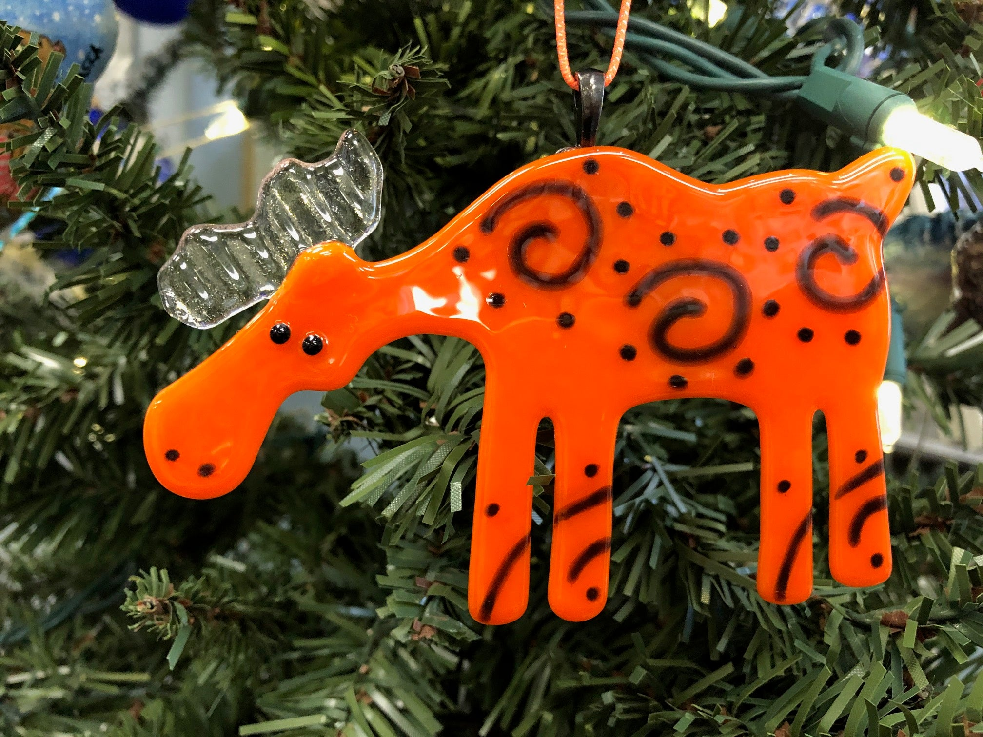 ORANGE SPIRAL MOOSE ORNAMENT