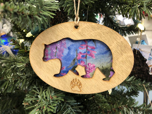 AURORA OVAL BEAR ORNAMENT