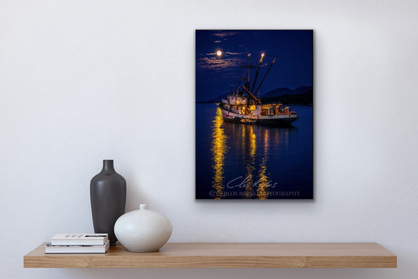 FISHING BOAT UNDER A FULL MOON 12x18 METAL