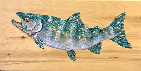 KING SALMON ORIGINAL PAINTING ON PINE WOOD