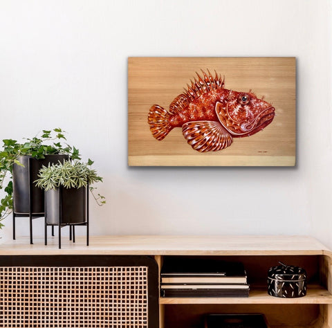 GIANT SCULPIN ORIGINAL ON PINE WOOD