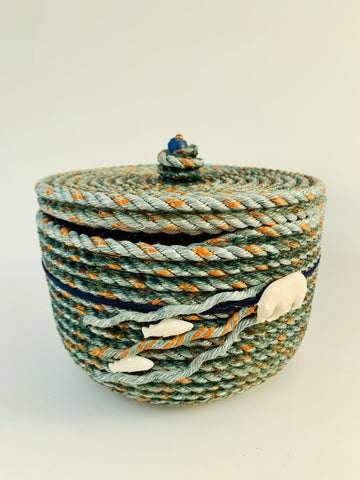 LIDDED LONGLINE BASKET WITH BEAR AND FISH EMBELLISHMENT