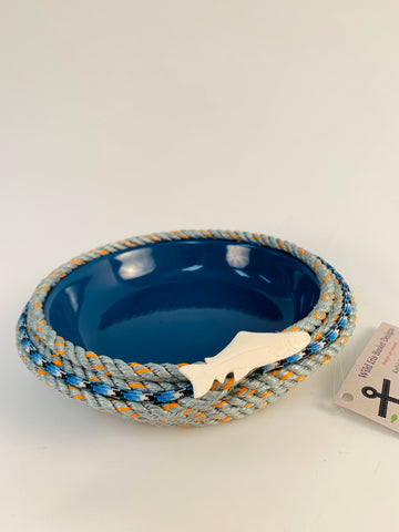 LONGLINE BASKET WITH BLUE CERAMIC DISH AND SALMON EMBELLISHMENT