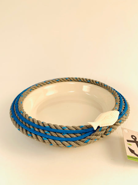 LONGLINE BASKET WITH WHITE CERAMIC DISH AND HALIBUT EMBELLISHMENT