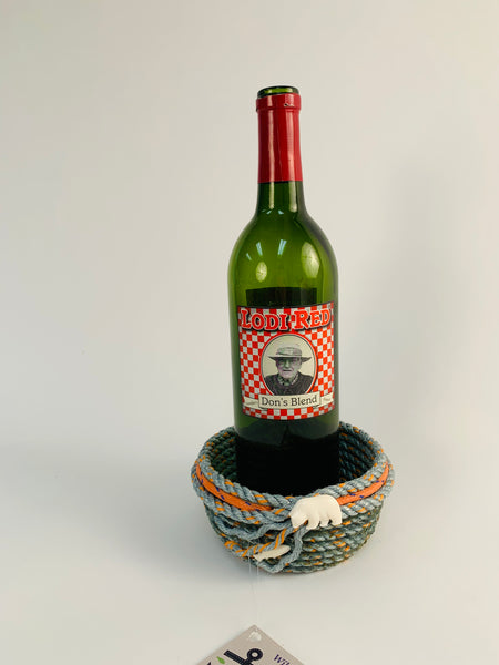 GREEN AND ORANGE LONGLINE WINE HOLDER WITH BEAR AND FISH EMBELLISHMENT