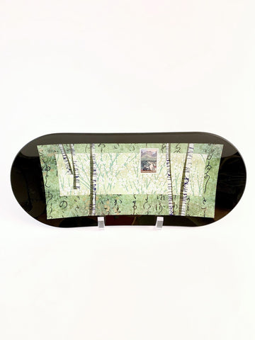 GREEN BIRCH TREE WITH ALASKA HIGHWAY STAMP OVAL PLATE