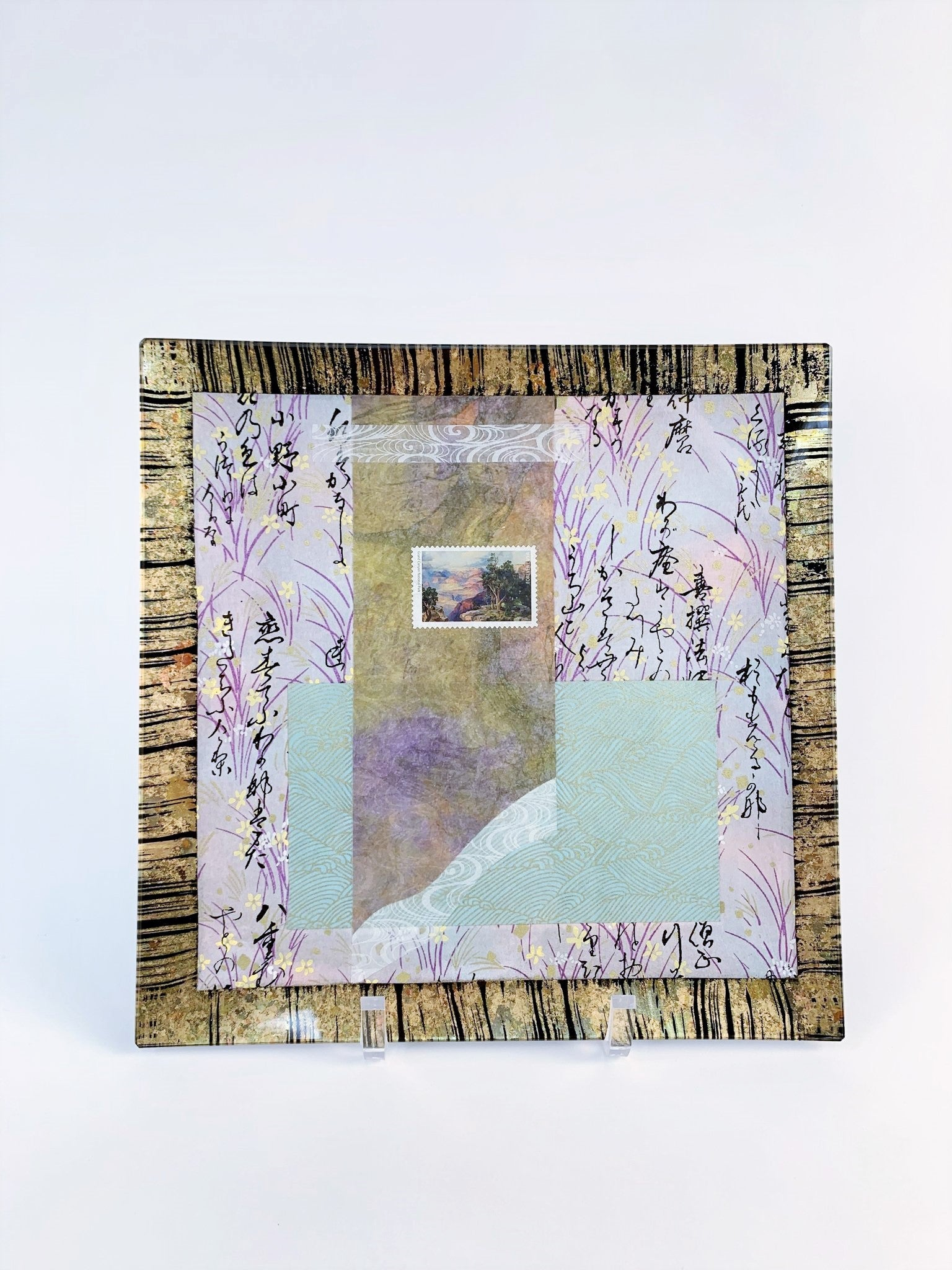 "PURPLE, MINT, AND GOLD WITH GRAND CANYON STAMP 10"" SQUARE PLATE"