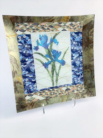 "IRIS BLUE AND GOLD 14"" SQUARE PLATE"