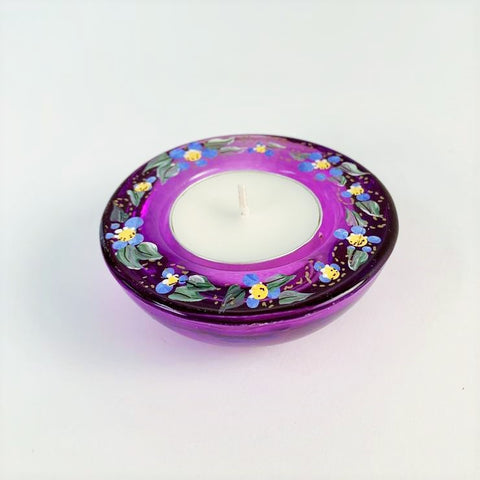PURPLE FORGET ME NOT TEA LIGHT HOLDER