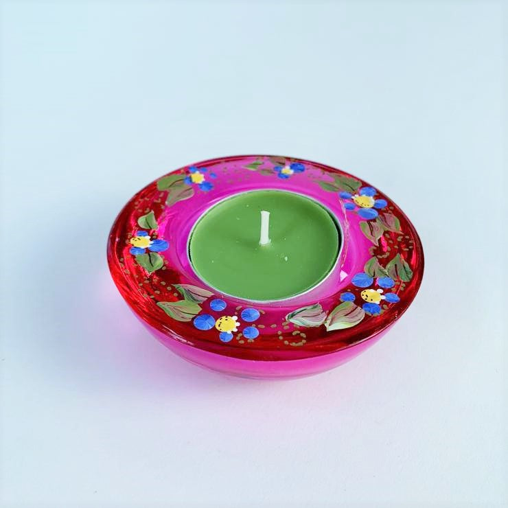 PINK FORGET ME NOT TEA LIGHT HOLDER