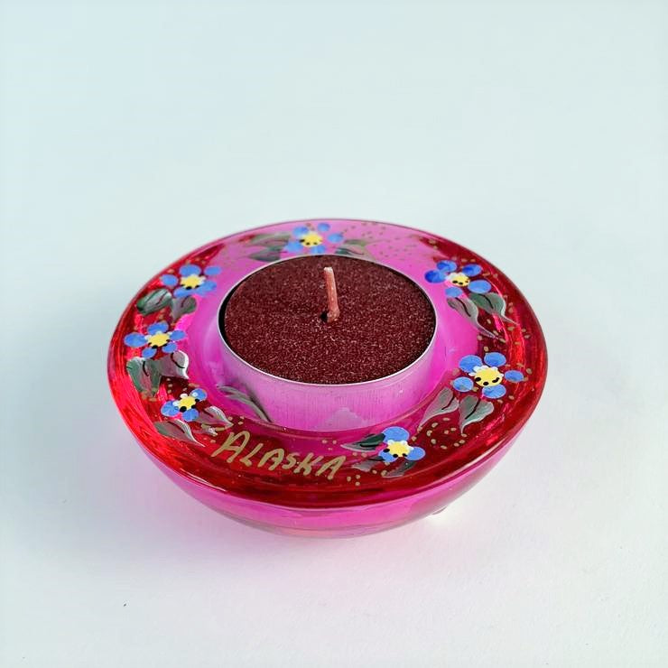 PINK ALASKA FORGET ME NOT TEA LIGHT HOLDER